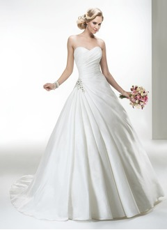 Ball-Gown Strapless Sweetheart Cathedral Train Taffeta Wedding Dress With Ruffle Crystal Brooch