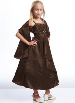A-Line/Princess Strapless Ankle-Length Satin Flower Girl Dress With Ruffle