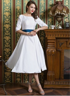 A-Line/Princess Scoop Neck Tea-Length Taffeta Wedding Dress With Sash Bow(s)