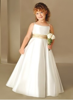 A-Line/Princess Strapless Floor-Length Satin Flower Girl Dress With Sash