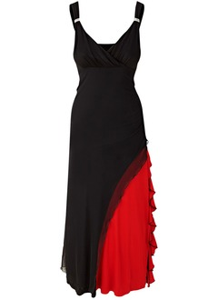 Sheath/Column V-neck Ankle-Length Jersey Evening Dress With Ruffle Beading Cascading Ruffles