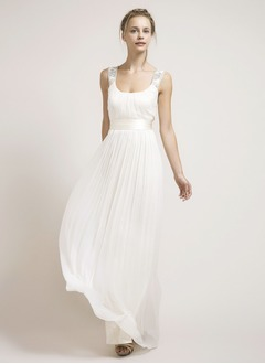 A-Line/Princess Square Neckline Floor-Length 30D Chiffon Wedding Dress With Beading