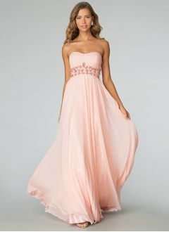 Empire Strapless Sweetheart Floor-Length Chiffon Evening Dress With Beading