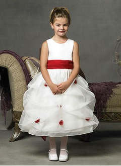 A-Line/Princess Scoop Neck Ankle-Length Satin Tulle Flower Girl Dress With Sash