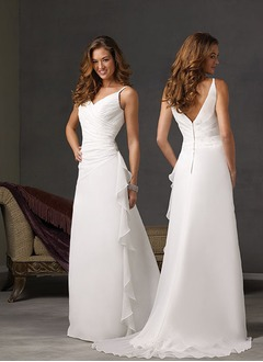 A-Line/Princess V-neck Sweep Train Chiffon Satin Wedding Dress With Ruffle Beading