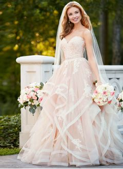 Ball-Gown Strapless Sweetheart Sweep Train Organza Lace Wedding Dress With Appliques Lace