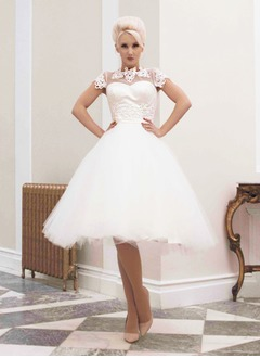 Ball-Gown High Neck Knee-Length Satin Tulle Wedding Dress With Appliques Lace