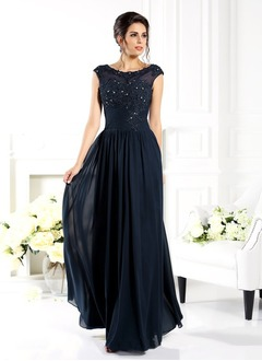 A-Line/Princess Scoop Neck Floor-Length Chiffon Tulle Mother of the Bride Dress With Beading Appliques Lace