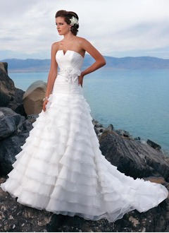 A-Line/Princess Scalloped Neck Chapel Train Organza Charmeuse Wedding Dress With Ruffle