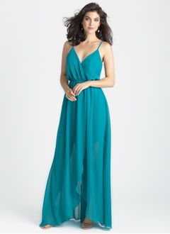 A-Line/Princess V-neck Floor-Length Chiffon Bridesmaid Dress With Split Front