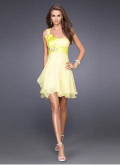 A-Line/Princess One-Shoulder Short/Mini Chiffon Charmeuse Cocktail Dress With Ruffle Beading