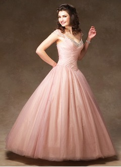 Ball-Gown V-neck Floor-Length Chiffon Tulle Prom Dress With Ruffle Beading Sequins