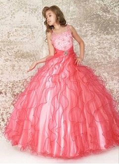 A-Line/Princess Scoop Neck Floor-Length Satin Tulle Flower Girl Dress With Beading Cascading Ruffles