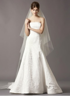 A-Line/Princess Strapless Sweep Train Satin Lace Wedding Dress