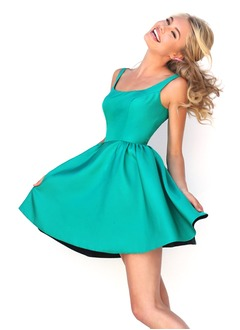 A-Line/Princess Square Neckline Short/Mini Satin Prom Dress