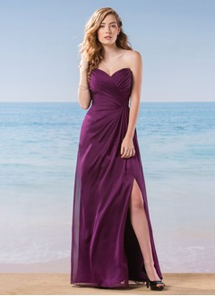 A-Line/Princess Strapless Sweetheart Floor-Length Charmeuse  ...