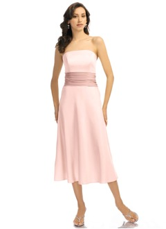 A-Line/Princess Strapless Tea-Length Charmeuse Bridesmaid Dress With Sash