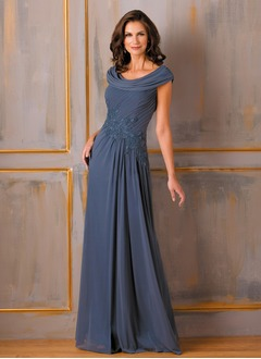 A-Line/Princess Cowl Neck Floor-Length Chiffon Mother of the Bride Dress With Ruffle Appliques Lace