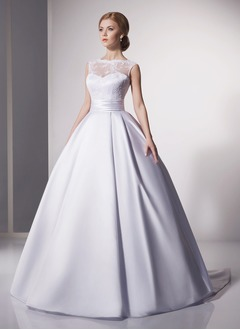 Ball-Gown Scoop Neck Court Train Satin Wedding Dress With Appliques Lace