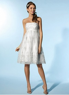 Empire Strapless Knee-Length Satin Lace Wedding Dress With Ruffle Beading