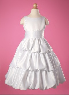 A-Line/Princess Scoop Neck Ankle-Length Taffeta Flower Girl Dress