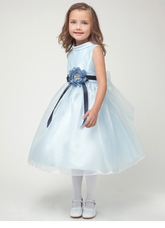 A-Line/Princess Scoop Neck Tea-Length Organza Satin Flower Girl Dress With Sash Flower(s)
