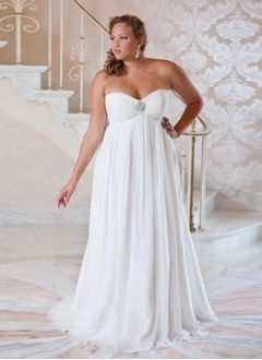 Empire Strapless Sweetheart Sweep Train Chiffon Wedding Dress With Ruffle Beading
