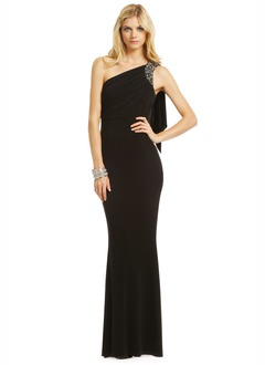 Sheath/Column One-Shoulder Floor-Length Jersey Evening Dress With Beading