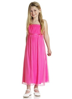 Empire Strapless Ankle-Length Chiffon Charmeuse Flower Girl Dress With Ruffle