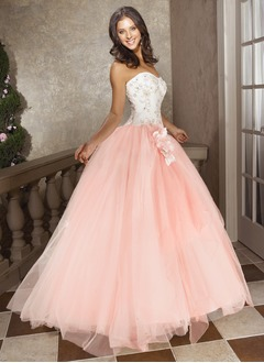 Ball-Gown Strapless Sweetheart Floor-Length Tulle Prom Dress With Beading Flower(s)