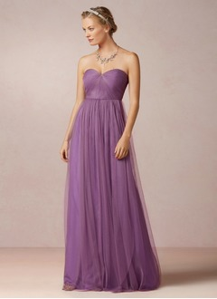 A-Line/Princess Strapless Sweetheart Floor-Length Tulle Prom Dress With Ruffle