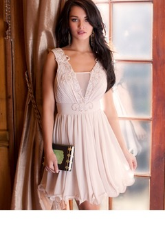 A-Line/Princess V-neck Short/Mini Chiffon Prom Dress With Lace Beading Sequins