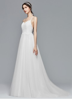 A-Line/Princess Sweetheart Sweep Train Tulle Wedding Dress With Lace (0025104321)