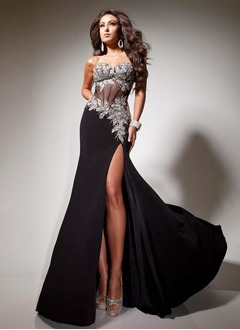 Sheath/Column Strapless Sweetheart Floor-Length Chiffon Evening Dress With Beading Appliques Lace Split Front