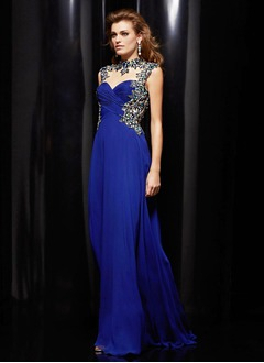A-Line/Princess High Neck Floor-Length Chiffon Tulle Evening Dress With Ruffle Beading Appliques Lace
