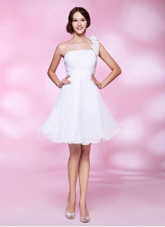 A-Line/Princess One-Shoulder Short/Mini Chiffon Prom Dress With Ruffle Flower(s)