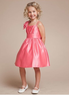 A-Line/Princess Strapless Knee-Length Taffeta Flower Girl Dress With Ruffle