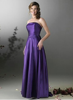 A-Line/Princess Strapless Sweep Train Satin Bridesmaid Dress