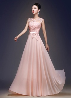 A-Line/Princess Scoop Neck Floor-Length Chiffon Tulle Prom Dress With Beading Appliques Lace