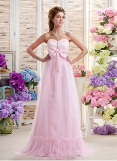 Empire Strapless Sweetheart Sweep Train Satin Tulle Wedding Dress With Beading Bow(s)