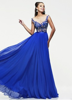A-Line/Princess Scoop Neck Floor-Length 30D Chiffon Prom Dress With Appliques Lace