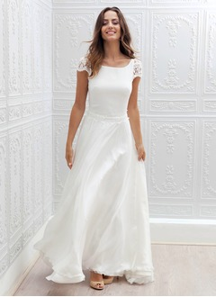 A-Line/Princess Square Neckline Sweep Train Chiffon Lace Wedding Dress