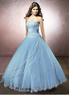 Ball-Gown Strapless Floor-Length Satin Tulle Wedding Dress With Lace Beading Flower(s) Sequins