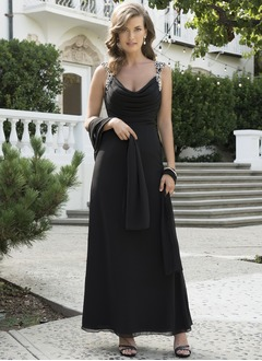A-Line/Princess Cowl Neck Floor-Length Chiffon Mother of the Bride Dress With Ruffle Beading