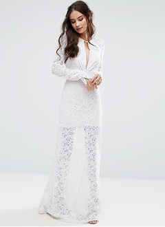 A-Line/Princess Scoop Neck Floor-Length Lace Wedding Dress With Lace