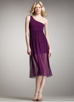 A-Line/Princess One-Shoulder Tea-Length Chiffon Cocktail Dress With Ruffle