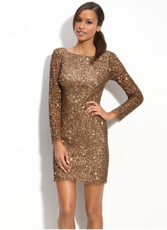 Sheath/Column Scoop Neck Short/Mini Sequined Mother of the Bride Dress
