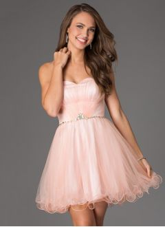 A-Line/Princess Strapless Sweetheart Knee-Length Satin Tulle Homecoming Dress With Ruffle Beading