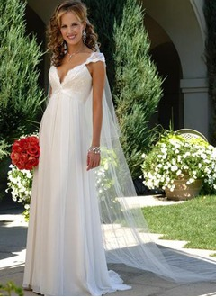 Empire V-neck Sweep Train Chiffon Wedding Dress With Ruffle Lace Beading