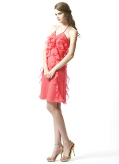 A-Line/Princess Halter Knee-Length Chiffon Homecoming Dress With Cascading Ruffles